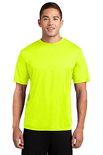 Dri-Tek Mens Big & Tall Short Sleeve Moisture Wicking Athletic T-Shirt, XLT, Neon Yellow