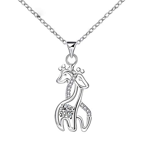 Godyce Giraffe Pendant Necklace Sterling Silver Plated for Women Crystal Jewelry Gift