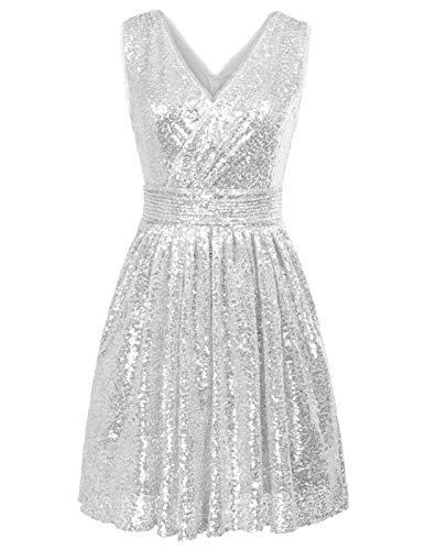 Kate Kasin Silver Sequined Evening Formal Gown Knee-Length V-Back Dress Sleeveless US4 KK1089