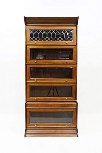 Crafters and Weavers Legacy Solid Mahogany Wood 5 Stack Barrister Bookcase - Light Brown Walnut