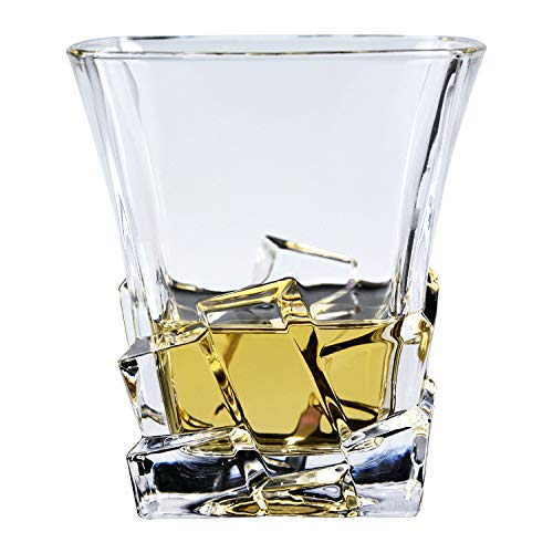 GLASKEY Whisky Glass Set of 4, Lead Free Crystal Old Fashioned Glass, Cocktail Cool Rocks Glass Tumbler for Bourbon, Irish Whisky, Brandy and More, Scotch Glasses -