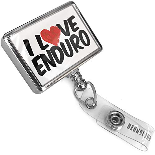 Retractable Plastic ID Badge Reel I Love Enduro with Bulldog Belt Clip On Holder Neonblond ()