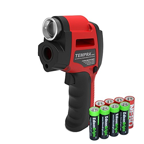 Nebo 6433 Tempra IR thermometer Spot light combo unit with 4 X EdisonBright brand AA batteries bundle