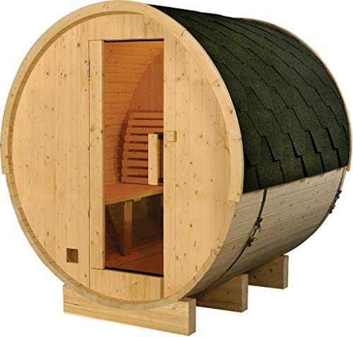 SDI Factory Direct 6' Foot Outdoor Finland Pine 4 Person Wood Barrel Wet Dry Sauna Spa with 6KW Heater