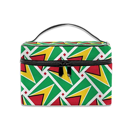 - Travel Makeup Bags With Zipper Guyana Flag Weave Cosmetic Bag Toiletry Bags Train Cases Storage Bags Organizer Portable Multifunction Case For Women Girls