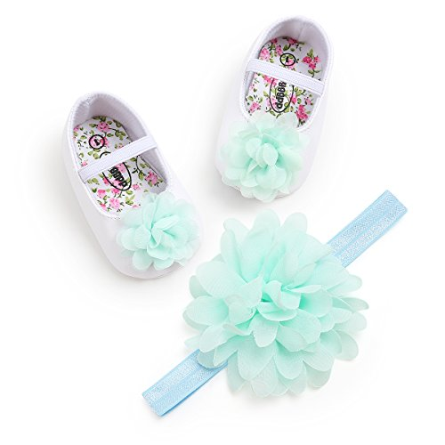 Toddler Baby Girls Shoes Soft Soled Wedding Shoes Ballerina Girls Lace Flower Shoes with Bow Ribbon 12cm(6-12months),Green