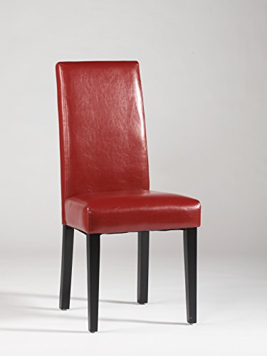 Chintaly high back side chair in red set of 2