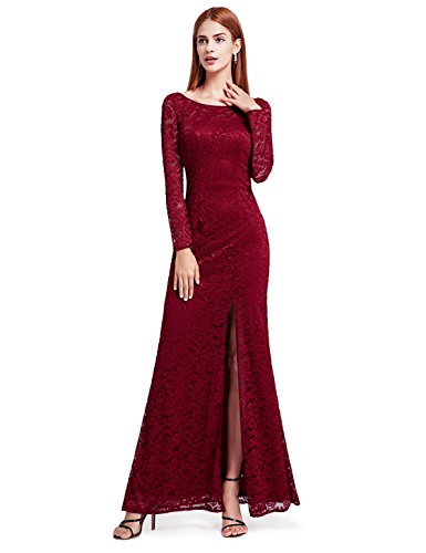 Ever Elegant Damen Burgundy 08883 Lace Design Pretty Abendpartykleid Langarm FRZwU