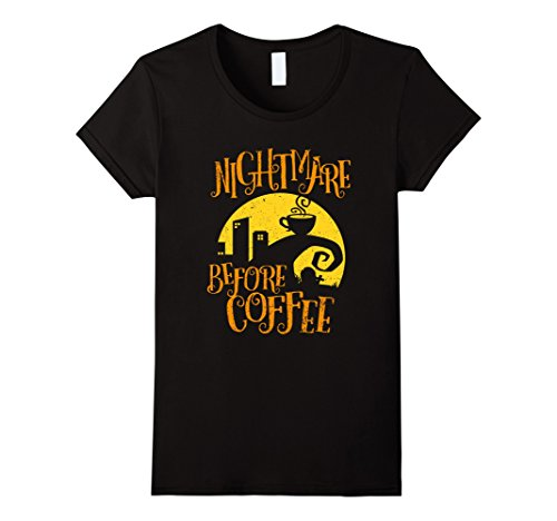 Womens Nightmare Before Coffee T-shirt Funny Gifts for Men Women Medium Black