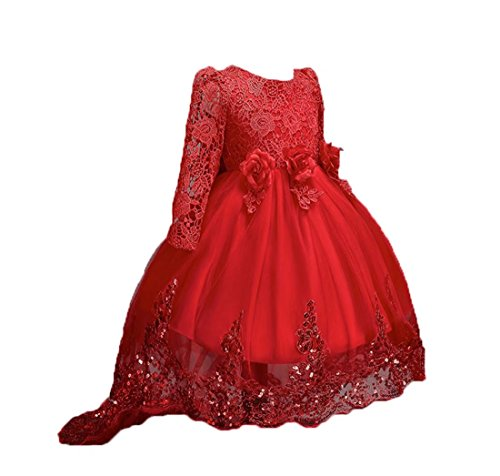 ZAH Little/Big Girls High-Low Bridesmaid Flower Girl Baptism Christening Birthday Party Dress (Long-Red,9-10Y)