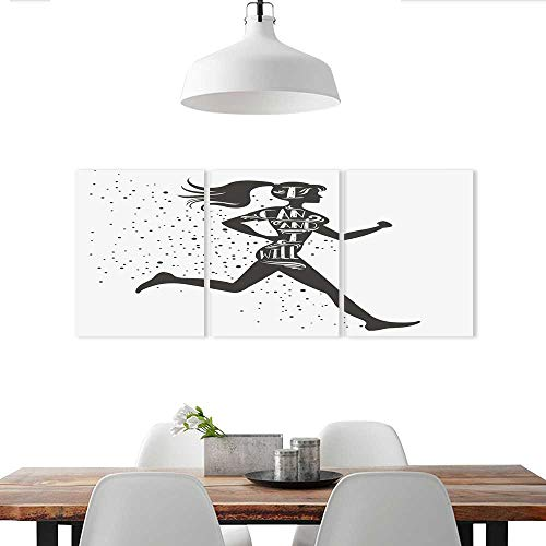 Triptych Canvas Set Black and White of a Female Runner Stickers for Wall Home
