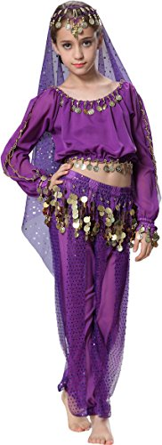 Arabic Dance Costume For Kids (Top Model Dance for Girls 3T 4T 4 Purple)
