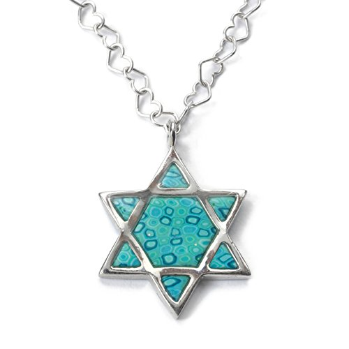 Silver Star Clay - 925 Sterling Silver Star of David Necklace Jewish Pendant Handmade Sea Green Polymer Clay Symbol, 16.5