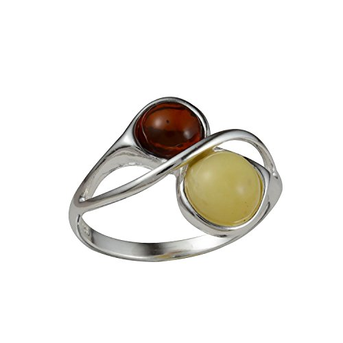 Honey Scotch (HolidayGiftShops Sterling Silver and Baltic Honey and Butterscotch Amber Ring size: 6)