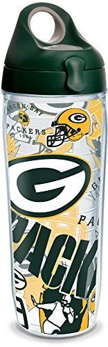 Tervis 1248166 NFL Green Bay Packers All Over Tumbler with Wrap and Hunter Green with Gray Lid 24oz Water Bottle, Clear ()