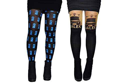 Doctor Who Tights Women & Girls (2 Pair) - Dalek & Tardis Costume - Doctor Who Hosiery -