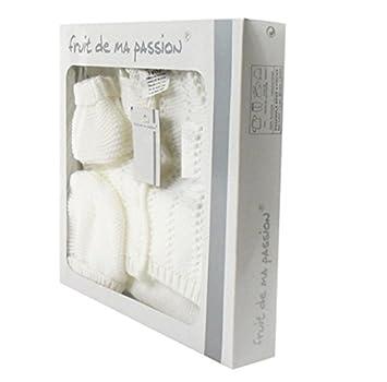 adfd604acecc NISSANOU Coffret Naissance Brassière 0 à 3 Mois Blanc 4 piéces idée cadeau  bébé maternité ou