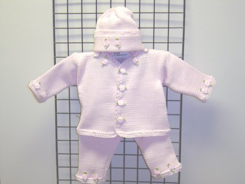 Cpk681bp, Hand Knitted Girls Outfit Baby Pink Cotton Cardigan, Pant, Hat Set with Rosebuds