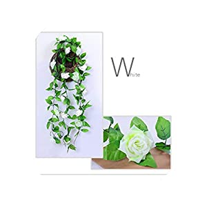 1/2PC 230cm Artificial Flower Vines Wedding Decor Rose Fake Flowers Rattan String Garden Hanging Garland Silk Flower Plant Leaf,2pc White 9 Roses 103