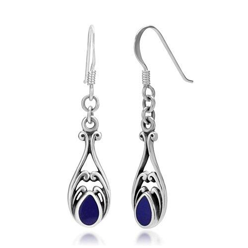 925 Sterling Silver Gemstone Filigree Dangle Hook Earrings