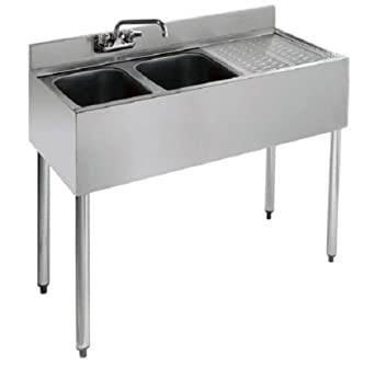 Amazon.com: Stainless Steel Two Compartment Under Bar Sink