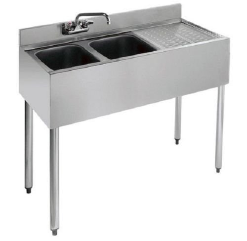 Stainless Steel Two Compartment Under Bar Sink Right Drainboard 36 x 18.5