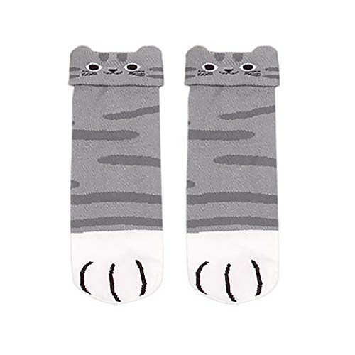 New Fashion Cute Kitty Cat Paws Socks Short Socks Women's With Paw Prints On Toes(Gray,Free Size) ()