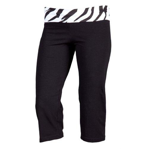 Boxercraft Yoga Capri with Fold Down Waistband,Small,Black with Zebra