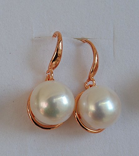 usongs 10-11mm natural pearl ear hook earrings rose gold
