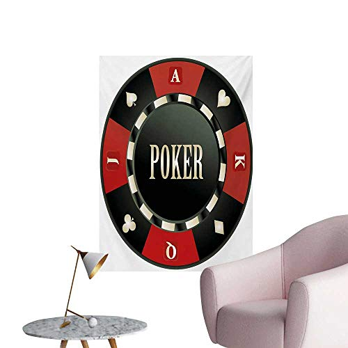 Anzhutwelve Poker Tournament Wallpaper Casino Chip with Poker Word in Center Rich Icon Card Suits PrintVermilion Army Green W20 xL28 Custom Poster ()