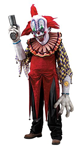 UHC Giggles Creature Reacher Scary Killer Clown Outfit Halloween Costume, (Scary Clown Halloween Outfit)