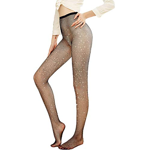 Thenxin Women's High Waist Fishnet Stockings Thigh High Hollow Out Leggings Pantyhose One Size(Coffee,Free Size)