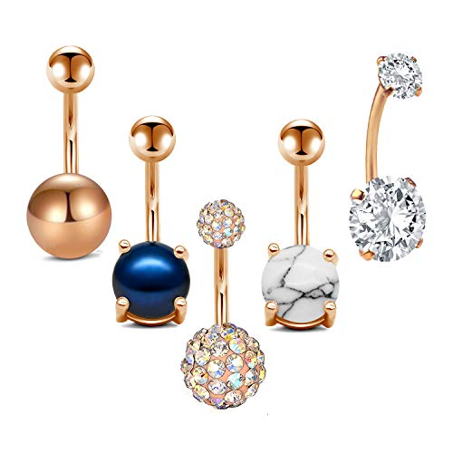 MODRSA 5pcs Jeweled Belly Button Rings 14G Surgical Stainless Steel CZ Pack Navel Barbell for Women Girls Piercing Rings Jewelry Belly Bar 3/8