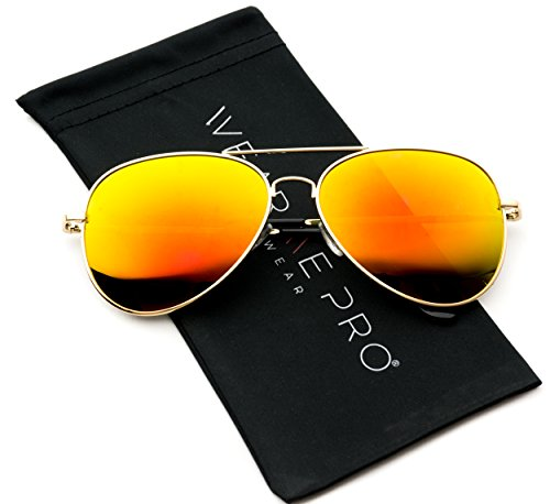 Premium Polarized Full Mirrored Aviator Sunglasses w/ Flash Mirror Lens (Flashing - Mirrored Aviators Red