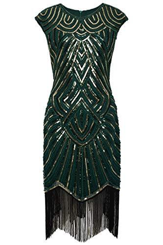 BABEYOND Women's Flapper Dresses 1920s Beaded Fringed Great Gatsby Dress (DarkGreen Gold, L) -