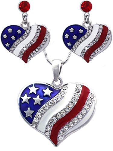 cocojewelry 4th of July USA American Flag Heart Star Pendant Necklace Earrings Set (Heart Red Dot)