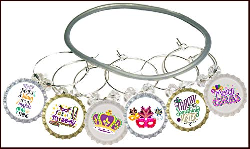 Mardi Gras Wine Charms - Mardi Gras Party Favor Supplies, Mardi Gras Gifts, New Orleans Glass Tag Identifier For Party Cups - 8 wine charms ()