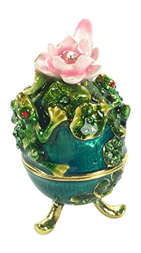 Jeweled Enamel Frog Box (Welforth Bejeweled Egg Floral with Tree Frogs Trinket Box 2.75 Tall)