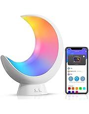 ECOLOR Smart sänglampa, segmenterad färgförändring sänglampor för sovrum, app-styrd dimbar touch-bordslampa, RGB LED-barnlampa, synkroniserad musikrytm