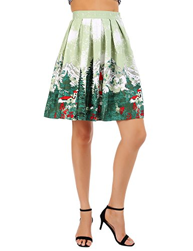 Femme Patineuse Rtro Imprime A Genou au Floral Line Plis Style Midi Vintage Jupe FISOUL Motif13 7pxdq7