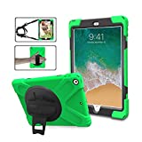 iPad 9.7 6th 5th Generation Case Cover For Kids, TSQ Heavy Duty [Corner Protection] Defender Shockproof Car Case With 360 Degree Rotation Stand, Handle Hand Strap Grip& Neck Shoulder Strap A1822 Green