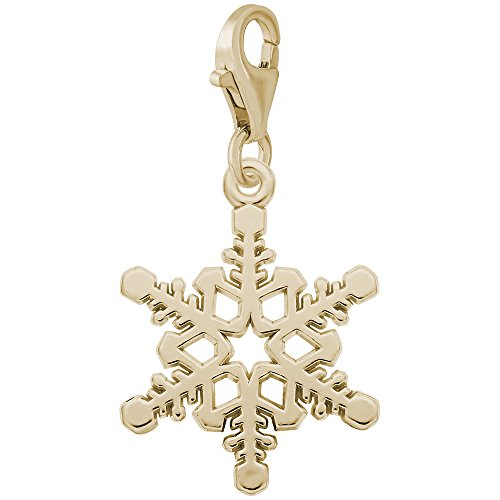 (14k Yellow Gold Snowflake Charm With Lobster Claw Clasp, Charms for Bracelets and Necklaces)