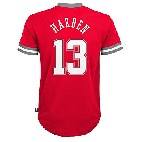 Outerstuff NBA Boys Youth 8-20 Short Sleeve Player Name & Number Performance Jersey (Youth Large 14-16, James Harden Houston Rockets)