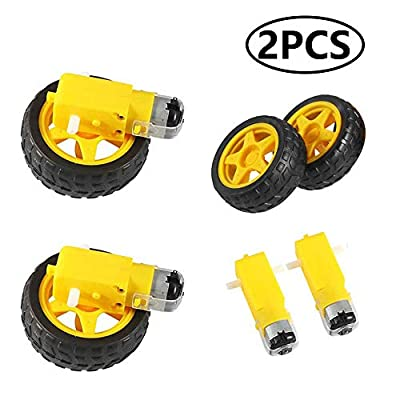 Aoicrie 2Pcs DC Electric Motor with Plastic Tire Wheel, 3-6V Dual Shaft Geared Motor TT Magnetic