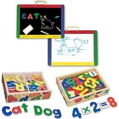 Melissa and Doug Magnetic Chalk / Dry Erase Board with Magnetic Wooden Alphabet and Numbers Bundle