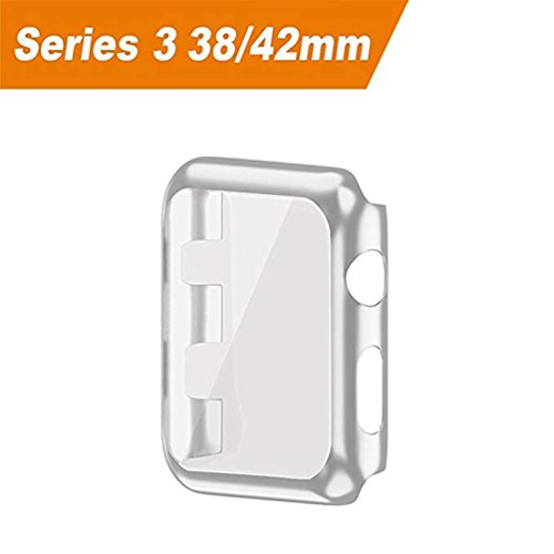 Hayder iPhone Watch Case Series 3 Ultra Slim Electroplate Anti-ScratchProtective Cover with Screen Protector for iPhone Watch Case 38mm / 42mm Series 3 (38mm, Silver) by Hayder