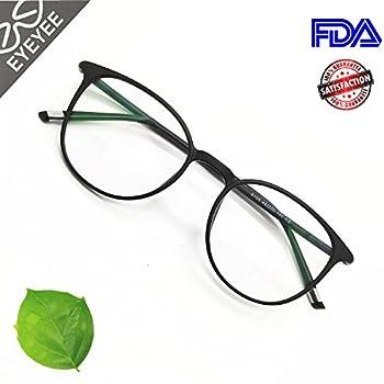 Reading Glasses Round Computer Readers for Women Men Eyeglasses Frames for Prescription Lens (A. Black, 0.25)