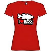Camiseta Pesca I Love Bass Manga Corta Mujer