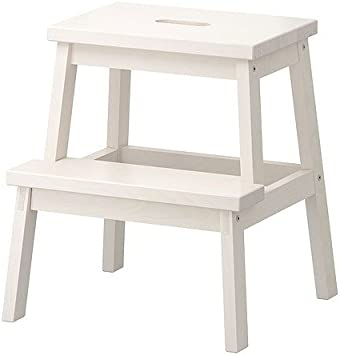 Ikea Tritthocker in weiß aus Massivholz Bekväm-Taburete de Madera Maciza, Color Blanco, 50 cm: Amazon.es: Hogar