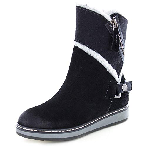 WHITE MOUNTAIN Womens Teague Suede Booties Winter Boots Black 5.5 Medium (B,M)